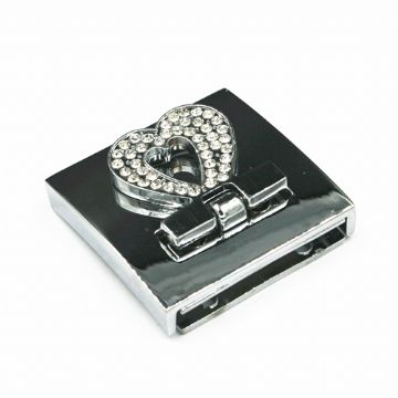1pce x 33mm*33mm heart design folder cuff clasp with rhinestone - WC236
